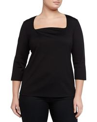 Lafayette 148 New York Stretch-knit Jersey Tee Black - Lyst