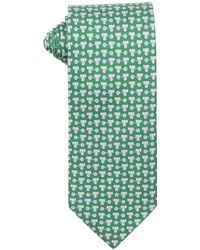 Ferragamo Green And Light Blue Elephant And Flower Print Silk Tie - Lyst