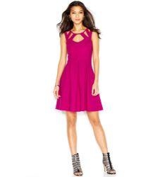 Betsey Johnson Cutout Box-Pleat Dress - Lyst