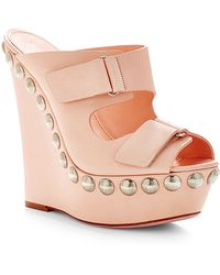 Giambattista Valli Studded Leather Platform Wedge Sandals - Lyst