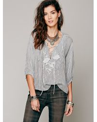 Free People FP One Ruffle Me Up Striped Blouse - Lyst