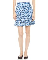 Marc By Marc Jacobs Aki Floral Crepe Skirt Skipper Blue Multi - Lyst