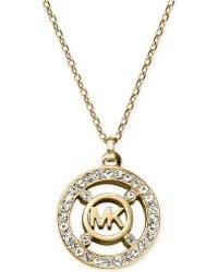Michael Kors Crystal Logo Pendant Necklace - Lyst