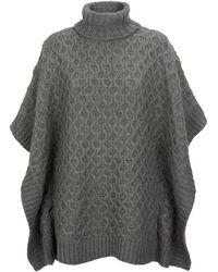 MICHAEL Michael Kors Aran Knit Roll Neck Poncho - Lyst
