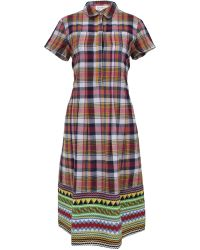 Suno Madras Plaid Pintuck Shift Dress - Lyst