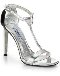 Prada Metallic Tstrap Leather Sandals - Lyst