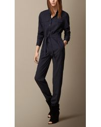 Burberry Silk Blend Jumpsuit - Lyst