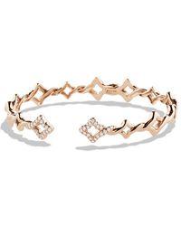 David Yurman Venetian Quatrefoil Singlerow Bracelet with Diamonds in Rose Gold - Lyst