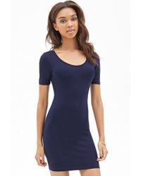 Forever 21 Scoop Back Bodycon Dress - Lyst