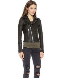 Rta Leather Biker Jacket  Debosse Snake Black - Lyst
