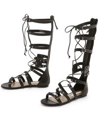 Cynthia Vincent - Franky Tall Gladiator Sandals - Black - Lyst