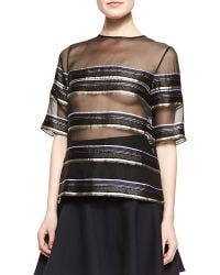 Adam Lippes Striped Sheer Chiffon Tee Blackblue - Lyst