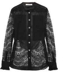 Givenchy Silk Satinpaneled Lace Shirt - Lyst