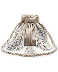 Sara Battaglia Jasmine Small Fringed Leather Bucket Bag - Lyst