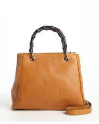 Gucci Orange Leather Wooden Accent Convertible Top Handle Bag - Lyst