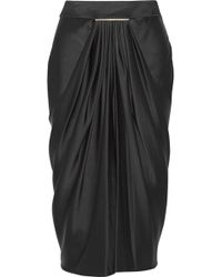 Jason Wu Draped Duchessesatin Midi Skirt - Lyst