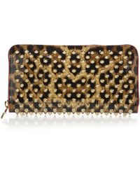 Christian Louboutin | Panettone Spiked Leopard-print Zip-around Wallet | Lyst