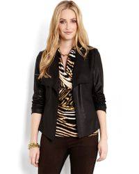 Karen Kane Faux Leather Draped Cardigan - Lyst
