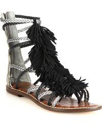 Sam Edelman Gisela Fringed Calf Hair, Metallic Leather & Suede Sandals - Lyst