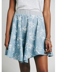 Free People Coconut Grove Print Skirt blue - Lyst