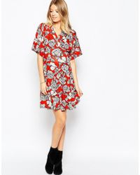 Asos Maternity | Kimono Sleeve Floral Skater Dress | Lyst