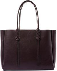 Lanvin - Small Burgundy Nela Leather Shopper Bag - Lyst
