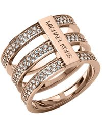 Michael Kors Pavéembellished Rose Goldtone Ring - Lyst