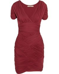 Halston Heritage Ruched Stretch-jersey Dress - Lyst