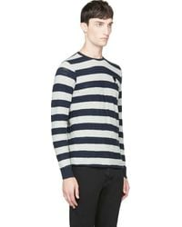 Diesel Navy and Grey Striped T_colty Shirt - Lyst