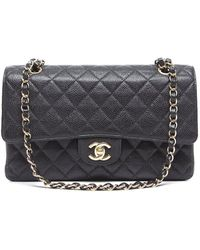 Chanel Pre-Owned Black Caviar Medium Double Flap Bag - Lyst