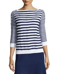 St. John Striped Cable-Knit Sweater - Lyst