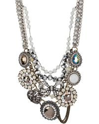 Betsey Johnson Mixed Bow and Crystal Frontal Statement Necklace - Lyst