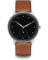 HyperGrand | Signature Silver Watch On Black Dial And Tan Leather Strap | Lyst