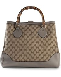 Gucci Signature Monogram Wooden Handle Tote - Lyst