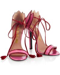 House of Holland - Ss15 'plaster Casters' Red/ Pink Tassel Heels - Lyst