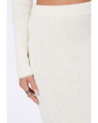 99b1b9a49 Missguided - Madelynn Knit Midi Pencil Skirt Cream - Lyst