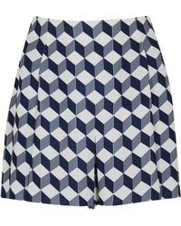 O'2nd - Blue Cube Print Cloqué Shorts - Lyst