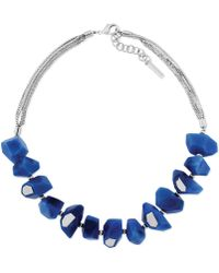 Vince Camuto Silvertone Blue Resin Stone Frontal Necklace - Lyst