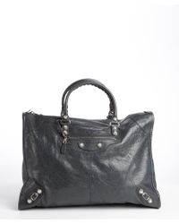 Balenciaga Charcoal Glazed Leather Large Giant Work Bag - Lyst