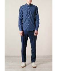 Mr Start Blue Buff Sixties Collar Shirt - Lyst