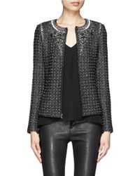 St. John Handbeaded Metallic Tweed Knit Jacket - Lyst