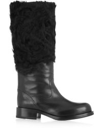 Jil Sander Leather and Shearling Knee Boots - Lyst