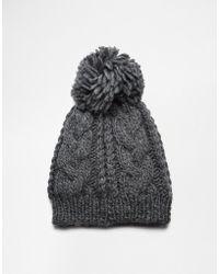 Esprit - Chunky Knit Bobble Beanie Hat - Lyst