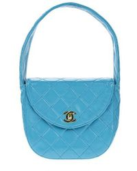 Chanel   Pre-owned: Turquoise Vintage Top Handle Bag   Lyst