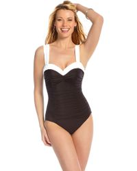 Miraclesuit Color Blocked Ruched One Piece - Lyst
