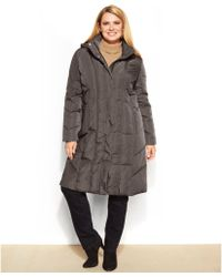 Calvin Klein Plus Size Hooded Quilted Down Puffer Coat - Lyst