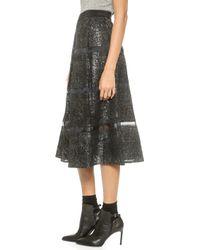 Rebecca Taylor Foil Lace Midi Skirt - Blackgunmetal - Lyst