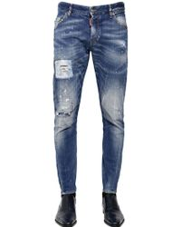 DSquared2 16cm Sexy Twist Orange Spot Wash Jeans - Lyst