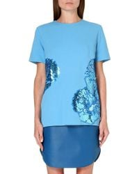 Richard Nicoll Sequinembroidered Pleat Top Blue - Lyst