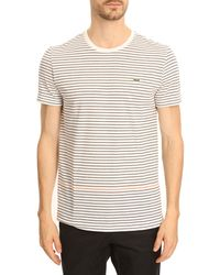 Lacoste White Roundneck T-shirt with Navy and Orange Stripes - Lyst